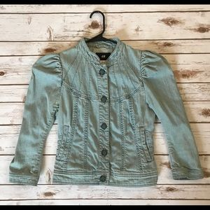 H&M Jean Jacket - Puff Sleeves Size 10